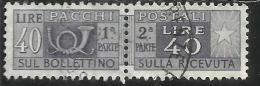 ITALIA REPUBBLICA ITALY REPUBLIC 1955 1979 PACCHI POSTALI PARCEL POST STELLE STARS 1957 LIRE 40 USATO USED OBLITERE´ - Postpaketten