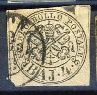 Stato Pontificio 1852, N. 5 Baj 4 Bruno Grigio Chiaro Usato Cat. € 120 - Stato Pontificio
