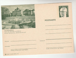 1972  GERMANY Illus LUDWIGSBURG CASTLE  Postal STATIONERY Card GARDEN FOUNTAIN Cover Stamps - Castles