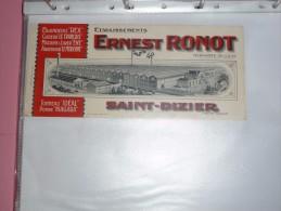 BUVARD Publicitaire  BLOTTING PAPER   Usine Ernest RONOT Saint-Dizier - Buvards, Protège-cahiers Illustrés