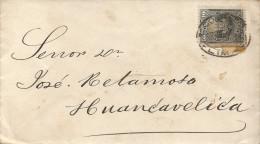 G)1889 PERU, CIRCULAR LIMA CANC., COAT OF ARMS, CIRCULATED COVER TO HUANCAVELICA, XF - Peru