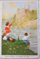 Litho ILLUSTRATEUR WSSB 9971 FRANK W.S. WILLS ? Fille Fillette Garcon Gruss Leve Verre Vin Bord Du Rhein Burg Rheinstein - Autres