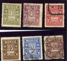 NORVEGE - NORGE - COLECTION D'ANCIENS 1889 – TIMBRES  TAXE Numéros 1 à 6 - 6 TIMBRES - Oblitérés