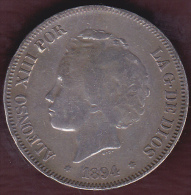 Espagne. 5 Pesetas 1894 .ALFONSO XIII. Montée En Broche. ARGENT. - Premières Frappes