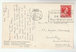 1956 BELGIUM Stamps COVER (postcard)  SLOGAN Pmk FETES SEPTENNALES DE HUY - Belgium