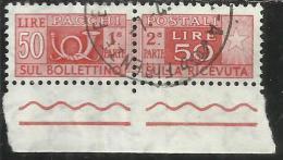 ITALIA REPUBBLICA ITALY REPUBLIC 1955 1979 PACCHI POSTALI PARCEL POST STELLE STARS LIRE 50 USATO USED OBLITERE´ - Postpaketten