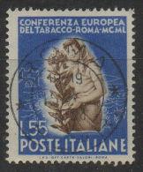 ITALIA  REPUBBLICA  1950  Tabacco  L. 55 Usato  Used - 1946-60: Usati