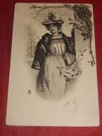 """FANTAISIES -    Illustrateur Non Signé  - """" Jeune Femme     """"  Carte Viennoise     - (2 Scans) - Illustrateurs & Photographes"""