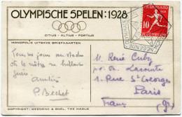 PAYS-BAS THEME JO CARTE OLYMPISCHE SPELEN : 1928 DEPART OBLITERATION ILLUSTREE NEGENDE OLYMPIADE AMSTERDAM STADION......