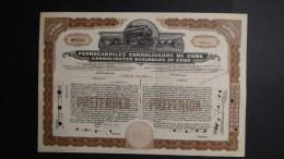 Cuba - Ferrocarriles Consolidados De Cuba - Nr:NP0762 / 1926 - 40 Shares - Rare Item!! - Look Scans - Chemin De Fer & Tramway