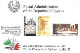 75474) Cartolina Maximum-di Cipro Con 2c. Monastero Di Ayia Napa-+annullo Speciale Italia 85 - Unused Stamps