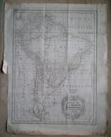 MAPPA CARTA GEOGRAFICA CARTE DE L'AMERIQUE MERIDIONALE AMERICA MERIDIONALE ANNO 1757 SOUTH AMERICA - Carte Geographique