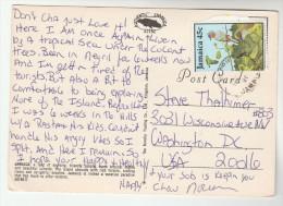 1990 JAMAICA COVER (postcard) 45c BIRDS Bird To USA - Jamaica (1962-...)