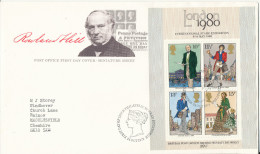 Great Britain FDC 24-10-1979 Minisheet London 1980 Stamp Exhibition With Cachet - Expositions Philatéliques