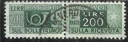 ITALIA REPUBBLICA ITALY REPUBLIC 1955 1979 PACCHI POSTALI PARCEL POST STELLE STARS LIRE 200 USATO USED OBLITERE´ - Postpaketten