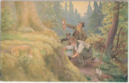 JAGD Fuchs Dackel Jäger + Sein Helfer Bei Gewehrloser Fuchsjagd Teckel 17.5.1918 Gelaufen - Hunde