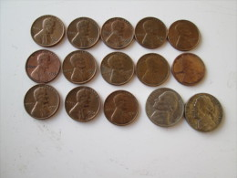 USA Lot Of 15 Coins 1 Cent And 5 Cent Various Year  # 2 - 1909-1958: Lincoln, Wheat Ears Reverse
