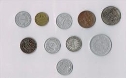 1 Franc 1895, 10  Francs 1932,5 Francs 1945,1912,1939,1949,1943,1951 X 10 !!!!ensemble De Pièces De Monnaie-set Of Coins - France