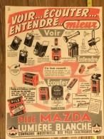 PUB PUBLICITE 1950/1960 PILE MAZDA LUMIERE BLANCHE CIPEL - Vieux Papiers