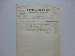 81 ALBI Amiel Et Carmaux, Objet D'art Et Antiquités, Facture 1880 ; Ref V 06 - France