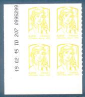 Coin Daté N°847 Marianne Et La Jeunesse 0.01€ Jaune Autoadhésif Neuf** - Date 19.02.15 - Coins Datés