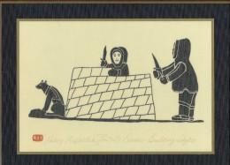 Henry Napartuk - Eskimo Bulding Iglo -  Eskimo Artist From Great Whale River - Canadian Native Prints - Art Populaire