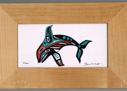 VINTAGE WOOD AND TILE GLENN M. NUTT 'ORCA' BOX/VERY GOOD CONDITION BOX - Art Populaire