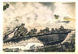 WW2 - Carte Propagande Allemande Pionier Stosstrupp Greift Im Sturmboot An, TBE - Heimat