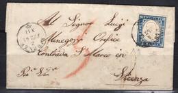 1861 Governo Della Toscana - 20 Cent. Tipo Sardegna 15 Cc Su Piego Per Vicenza - Toscana
