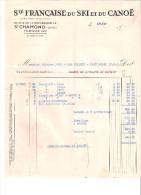 42 Saint Chamond Loire Société Du Ski Et Du Canoë Facture 1937 - Sports & Tourisme