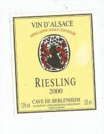 étiquette , BLANC , RIESLING , 2000 , Cave De BEBLENHEIM , 375 Ml , Vin D´Alsace , Haut-rhin , Appellation Controlée - Riesling