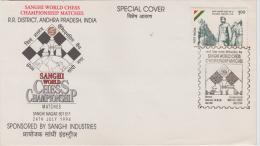 India   1994  Chess  World Championship  Hyderabad Special Cover  # 88282  Inde Indien - Chess