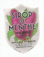 étiquette , DISTILLERIE DE MONTMORILLON , Ets DARDANT & Co , Vienne , SIROP DE MENTHE , Médaille D´or - Etiquettes
