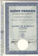 10 Actions SAINT-FRERES  S.A. Action De 50 F Au Porteur - Actions & Titres