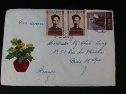 VIETNAM NORTE CARTA CIRCULADA A PARIS 1966 HA-NOI KYNIEM LAN THU 80 - Viêt-Nam