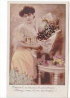 25474 Deux Cpa - Femme Saint Nicolas -santa Claus - Printemps Las - Ed Illisible - Dentelle Fleur - Saint-Nicolas