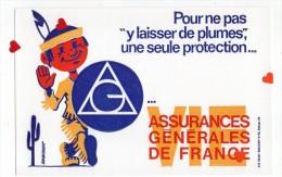 """ZE-Buvard.-ASSURANCES GENERALES DE FRANCE--Pour Ne Pas """"y Laisser De Plumes """" Une Seule Protection ... - Buvards, Protège-cahiers Illustrés"""