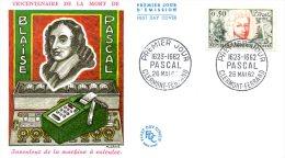 FRANCE. N°1344 Sur Enveloppe 1er Jour De 1962. Mathématicien Blaise Pascal/Calculatrice. - Sciences