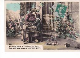 25477 Série 5 Cpa -mere Soldat -fileuse Rouet -jouet Soldat-ed BDB Ou BOB - Guerre Combat Joujoux Canon - Groupes D'enfants & Familles