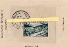 STRASBOURG   CONSEIL DE L'EUROPE 7/8/1950 CACHET TEMPORAIRE - Philatélie & Monnaies
