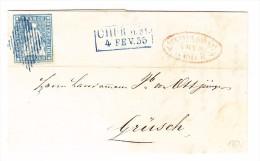 Heimat GR CHUR N.M. 4.2.1855 Im Kasten Blau 10C. Strubel Mit Blauer Raute Auf Brief Nach Grüsch - 1854-1862 Helvetia (Ungezähnt)