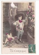 25480 -deux 2 Cpa- Tendresse Tendre Baiser -enfant Garçon Garconnet  Boy Coq Poule - -ed X ? - Enfants