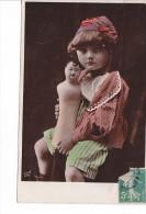25481 -deux 2 Cpa- Fillette Poupée Buste Mode Homme - Bonnet -Wallery Paris -colorisée Baby - Enfants