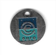Jeton  De  Caddie  Argenté  Banque  Crédit  Agricole  Vous  Accompagne  Pour  L' Euro   Verso  Vierge - Jetons De Caddies