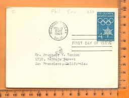 ENVELOPPE FDC: Olympic Winter Games, Olympic Valley California, 18 Feb 1960 - Schmuck-FDC