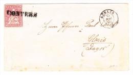 Heimat GR CONTERS Balkenstempel Mit 15Rp. Strubel 15.5.1860 Küblis Auf Brief Nach Glaris - 1854-1862 Helvetia (Non-dentelés)