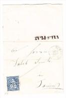 Heimat GR VALS-PLAZ Balkenstempel 28.1.1864 Gumbels 10Rp Sitzende Auf Brief - 1854-1862 Helvetia (Non-dentelés)