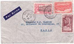 1940- Enveloppe Par Avion De Saint-Denis  Affr. à 5,75 F  Pour Paris - Reunion Island (1852-1975)