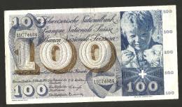 [CC] SVIZZERA / SUISSE / SWITZERLAND - NATIONAL BANK - 100 FRANCS / FRANKEN (1956) SAINT MARTIN - Svizzera
