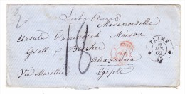 Heimat GR FLIMS 19.1.1862 2 Kreis Stempel Auf Brief Nach Alexandria Egypten - 1854-1862 Helvetia (Non-dentelés)